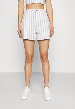 Missguided - STRIPE DENIM SHORTS - Denim shorts - blue