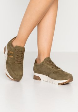 Tamaris - LACE UP - Sneaker low - olive/bronce