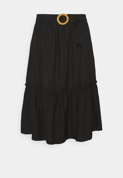 Simply Be - MIDI SKIRT WITH SIDE SPLIT - A-Linien-Rock - black