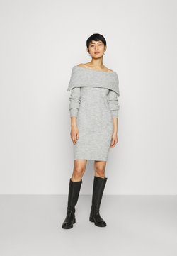 Dorothy Perkins - COSY CABLE DETAIL BARDOT - Jumper dress - light grey