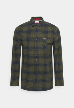 Tommy Jeans - PLAID SHIRT - Vapaa-ajan kauluspaita - dark olive