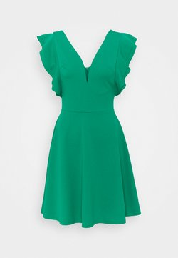 WAL G TALL - V NECK FRILL SLEEVE FIT FLARE DRESS - Vestido ligero - green
