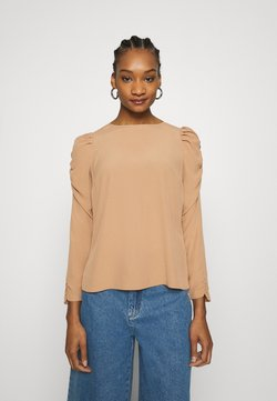Dorothy Perkins - LONG SLEEVE PUFF SHOULDER - Bluzka - camel