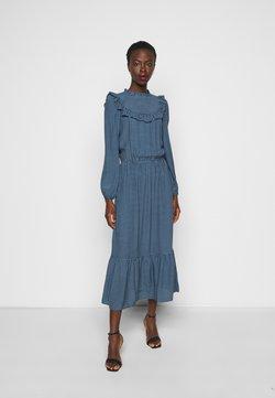 New Look Tall - CHECK GINGHAM FRILL DRESS - Freizeitkleid - blue