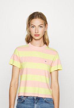 Tommy Jeans - BABY STRIPE TEE - Camiseta estampada - sweet peach/frozen lemon