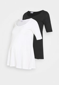 MAMALICIOUS - MLEVANA TOP 2 PACK - Camiseta básica - snow white/black