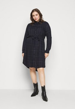 MY TRUE ME TOM TAILOR - BELTED CHECKED DRESS - Blusenkleid - navy gipsy/camel