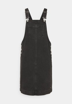 TOM TAILOR DENIM - DUNGAREE SKIRT - Denim dress - destroyed mid stone black denim