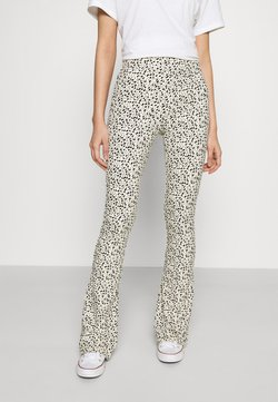 Colourful Rebel - LEOPARD BASIC FLARE PANTS - Trousers - sand