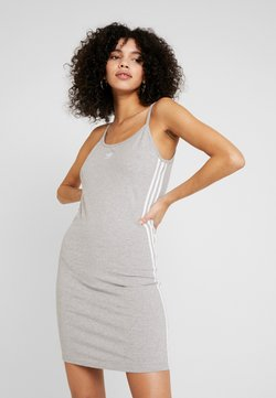 adidas Originals - ADICOLOR SPAGHETTI STRAP TANK DRESS - Etuikjole - medium grey heather/white