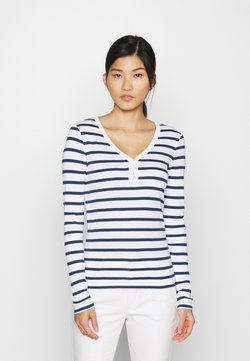 GAP - FAV HENLEY - Langarmshirt - white/navy