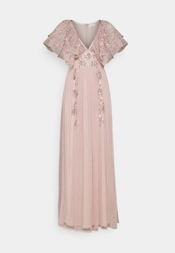 Maya Deluxe - V NECK RUFFLE EMBELLISHED DRESS - Robe de cocktail - frosted pink