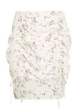 Missguided Petite - DITSY FLORAL RUCHED MINI SKIRT - Minifalda - cream
