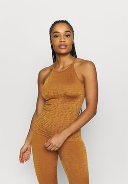 Casall - SHINY ALLIGATOR SEAMLESS STRAP TANK - Top - hazel brown