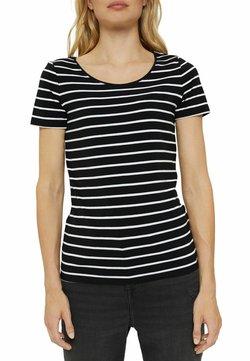 Esprit - 1/2 SLEEVE STRIPES - T-Shirt print - black