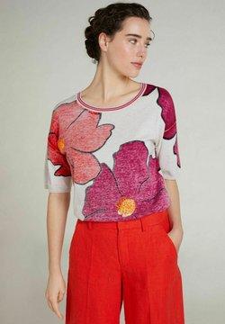 Oui - T-Shirt print - light grey red