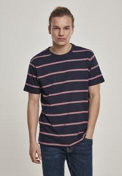 Urban Classics - YARN DYED SKATE STRIPE - T-Shirt print - midnightnavy/red
