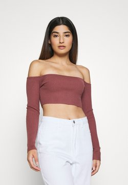 Missguided Petite - SQUARE NECK CROPPED JUMPER - Langarmshirt - mocha