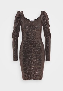Glamorous - RUFFLE MINI DRESS WITH LONG SLEEVES AND V-NECK - Cocktailkleid/festliches Kleid - bronze