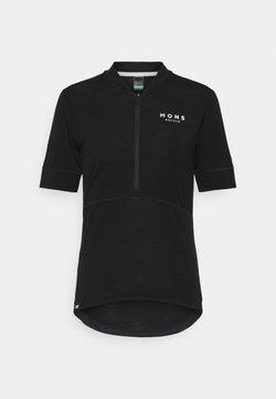 Mons Royale - CADENCE HALF ZIP - T-Shirt print - black