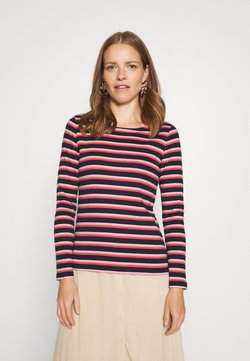 TOM TAILOR - STRIPED CREW NECK - Langarmshirt - navy/red/multicolor