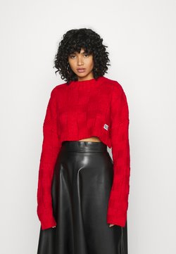 The Ragged Priest - CHUNKY WAFFLE STITCH SUPER CROPPED  - Neule - red
