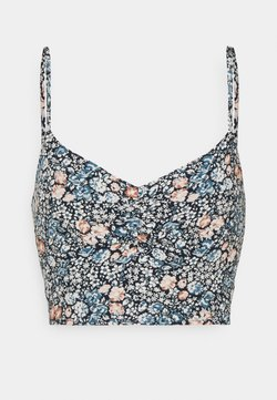 Abercrombie & Fitch - SLIM CROP CINCHED MIDI SET - Top - navy floral