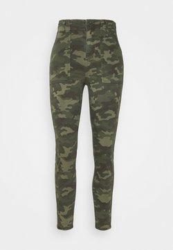 American Eagle - HI RISE CURVY - Trousers - camo green