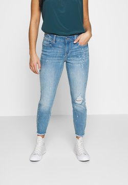 GAP Petite - SKIMMER LORCHID DEST - Straight leg jeans - light indigo destroy