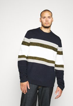 Only & Sons - ONSLAZLO STRIPED STRUC PLUS - Strickpullover - dress blues