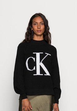 Calvin Klein Jeans - RAGLAN SWEATER - Sweter -  black/bright white