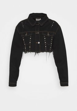 Simply Be - STUDDED CROP JACKET - Farkkutakki - black acid