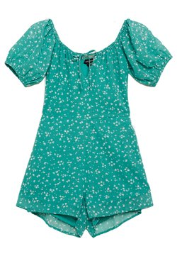 Wednesday's Girl - PEASANT NECKLINE PUFF SLEEVE PLAYSUIT - Combinaison - dejavu green