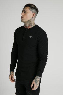SIKSILK - BUTTON DOWN TEE - Pitkähihainen paita - black