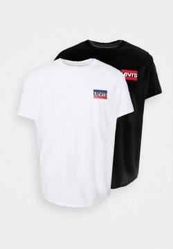 Levi's® Plus - BIG GRAPHIC TEE 2 PACK - T-shirt print - caviar/white