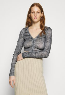 Topshop - RUCH ZIP FRONT - Maglietta a manica lunga - grey