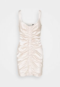 Missguided - RUCHED FRONT STRAPPY - Cocktailkleid/festliches Kleid - cream