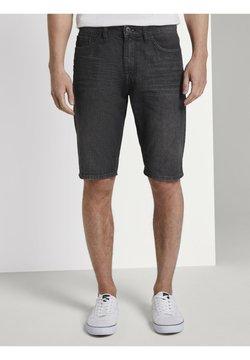 TOM TAILOR - JEANSHOSEN JOSH REGULAR SLIM JEANS-SHORTS IN VINTAGE-WASHUNG - Jeans Shorts - black stone wash denim