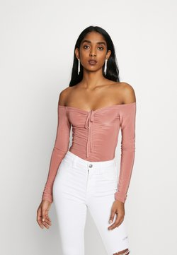 Missguided - SLINKY OFF SHOULDER RUCHED BODY - Langarmshirt - rose