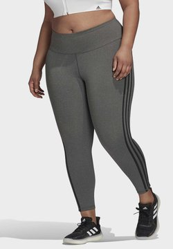 adidas Performance - BELIEVE THIS 3-STRIPES 7/8 LEGGINGS (PLUS SIZE) - Tights - grey