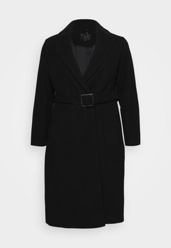 Dorothy Perkins Curve - CURVE BELTED WRAP COAT - Classic coat - black