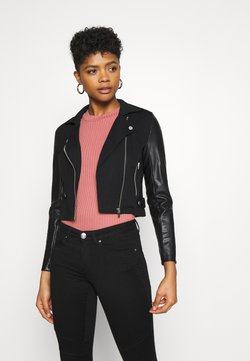 ONLY - ONLPOPTRASH MIX BIKER JACKET - Imitatieleren jas - black