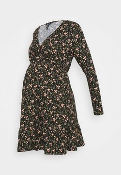 New Look Maternity - WRAP FRONT DITSY SHIRRED WAIST DRESS - Jerseykleid - black