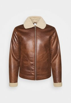 Jack & Jones - JJFLIGHT JACKET - Kunstlederjacke - cognac