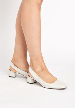 Next - CAMEL FOREVER COMFORT® LEATHER SQUARE SLINGBACKS - Pumps - off-white