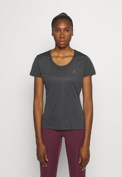Salomon - AGILE TEE - T-Shirt print - ebony/black/heather