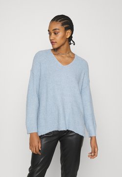 American Eagle - TEXTURED VEE NECK - Pullover - light blue