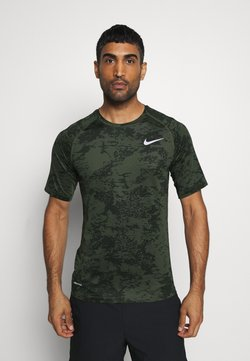 Nike Performance - SLIM  - Printtipaita - medium olive/white