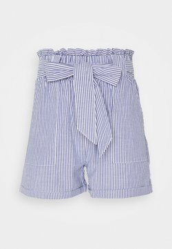 ONLY Tall - ONLSMILLA STRIPE BELT - Shorts - medium blue denim/white