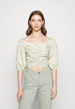 Gina Tricot - BOEL ROUCHED BLOUSE - Bluse - white/pink/green
